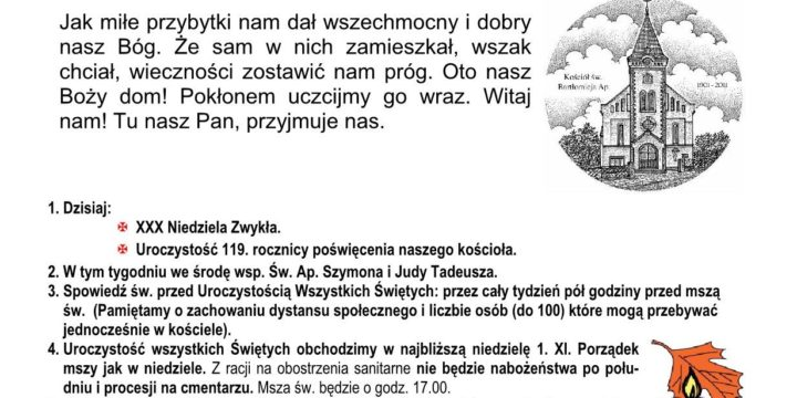 Ogłoszenia duszpasterskie 25.10.2020