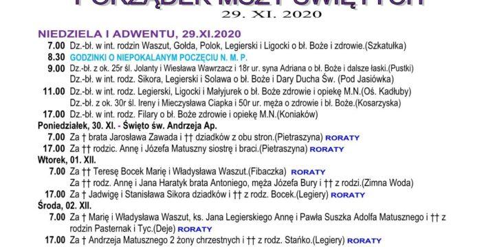 Intencje mszalne 29.11.2020