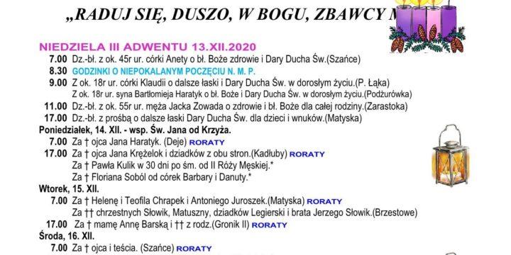 Intencje mszalne 13.12.2020